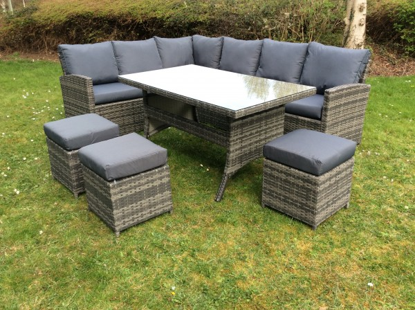 The Beaumont - Grey Two-Tone Eight Seater Rattan Corner with Dining Table and Three Foot Stools