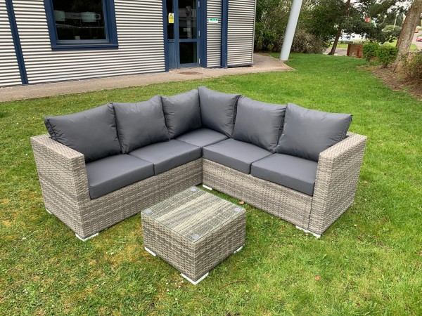 The Lian - Rustic Grey Six Seater Rattan Corner with Coffee Table