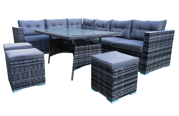 The Wiltshire, dark grey, nine-seater modular rattan corner with dining table and three footstools.