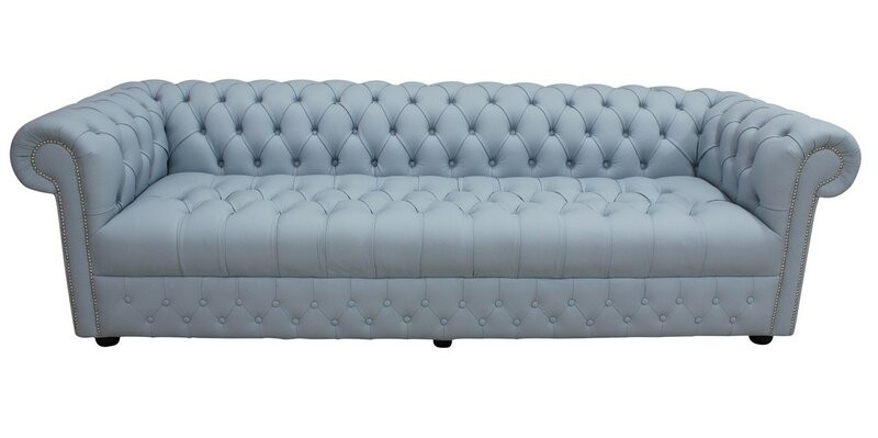 Gonzales Genuine Leather 4 Seater Chesterfield Sofa