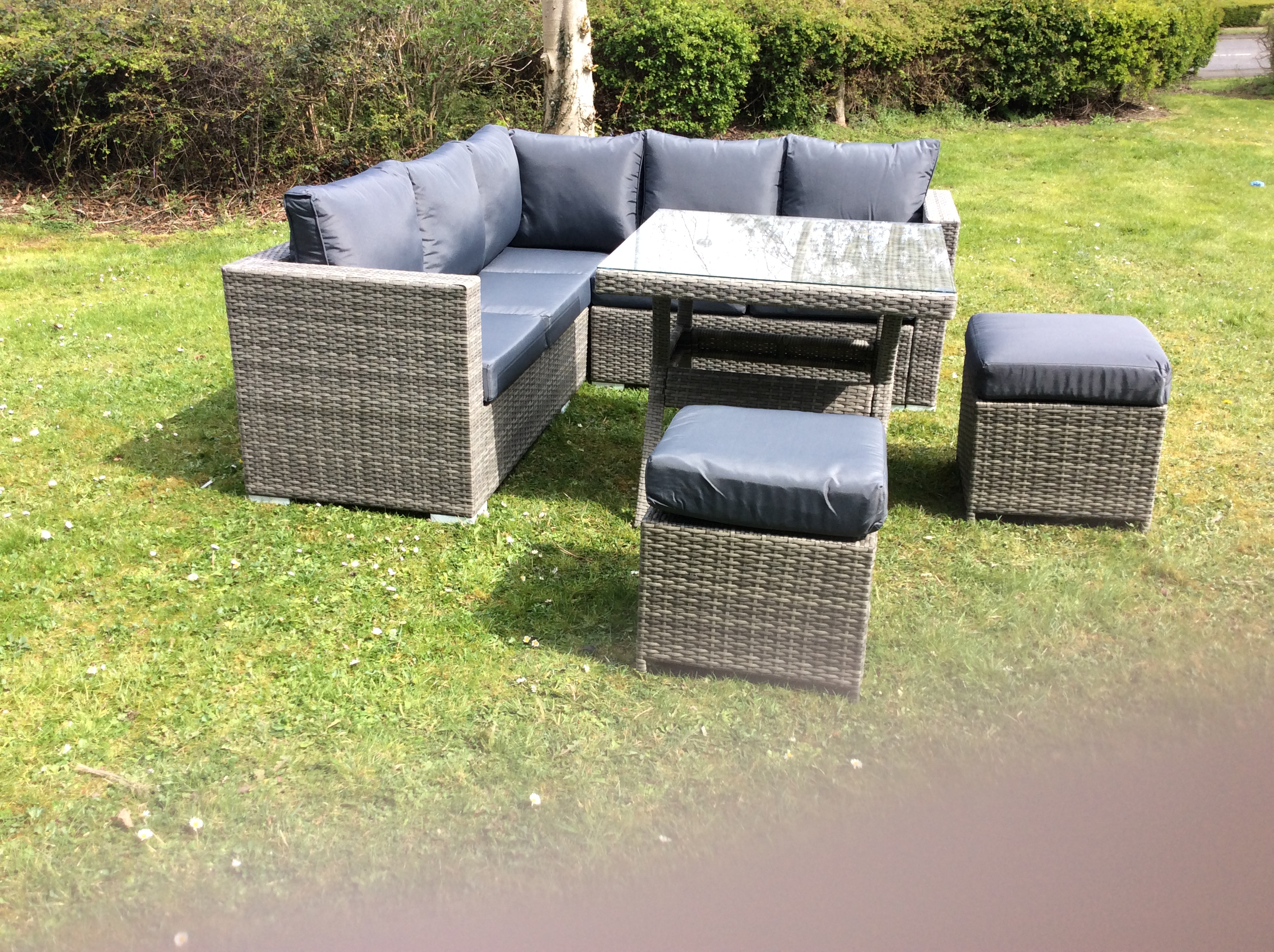 The Lian - Rustic Grey Six Seater Rattan Corner with Dining Table and 2 Foot Stools