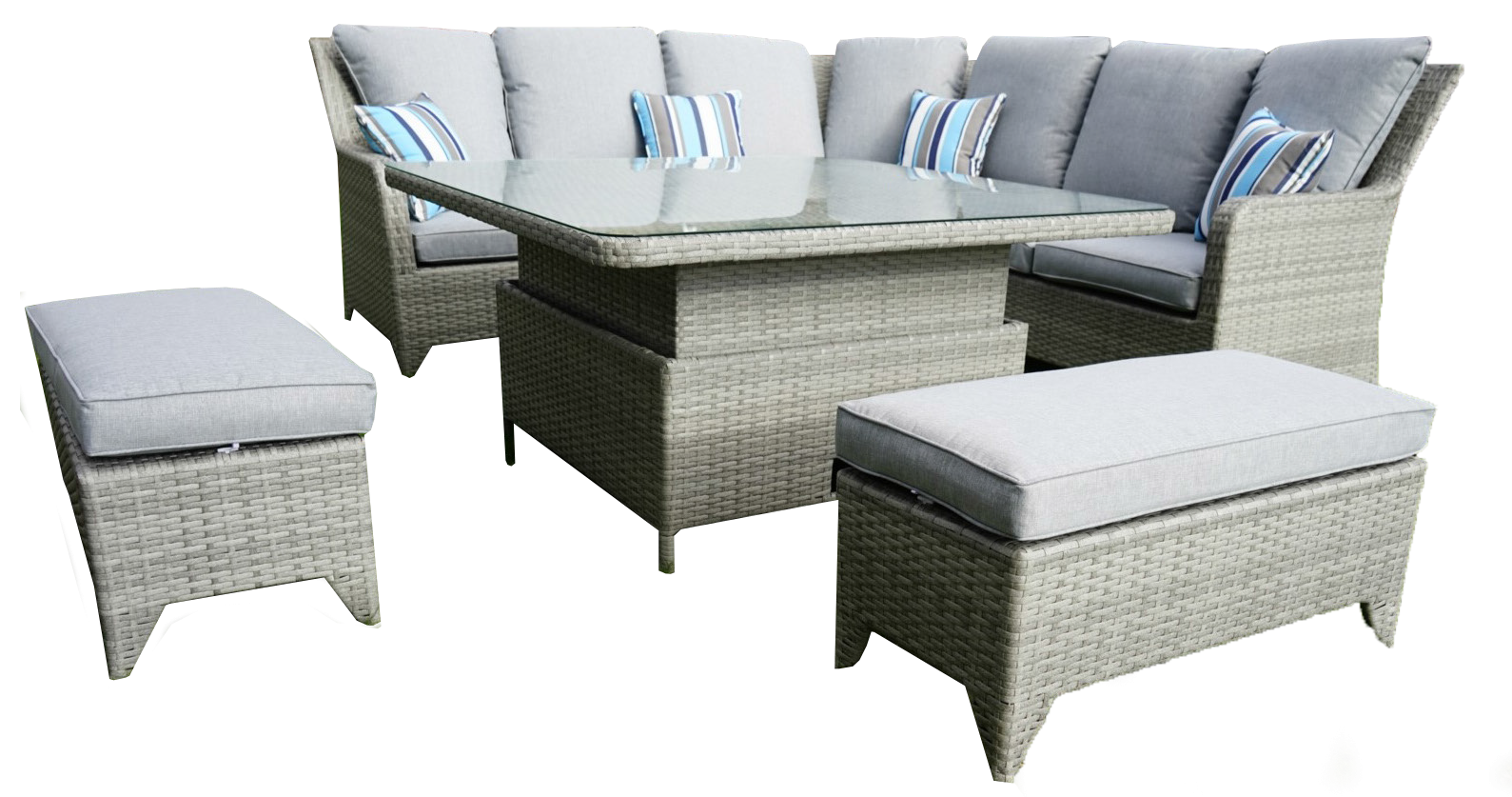 Luxury Claremont Garden Corner with Adjustable Dining Table and 2 Bench Seats
