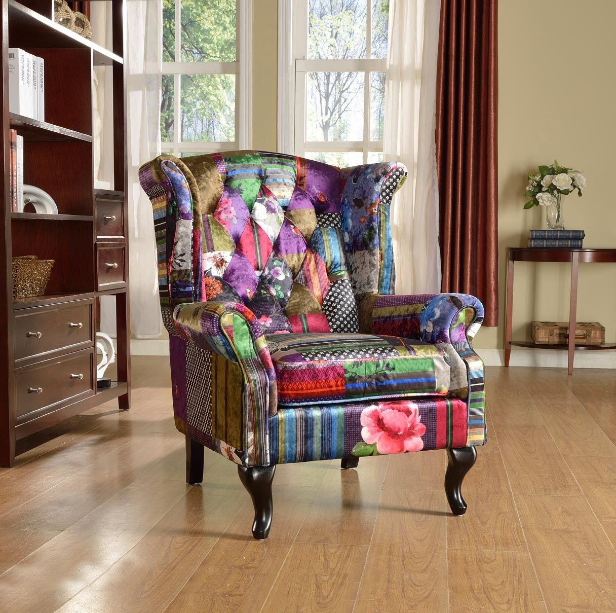 FABRIC PATCHWORK CHESTERFIELD AVICI SCROLL WINGBACK CHAIR