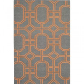 Safavieh, Dhurrie Caleb Hand-Woven Wool Orange/Grey Area Rug, 121 X 182 cm