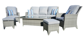 Luxury Windsor, light grey, 3 + 1 + 1 with adjustable coffee/dining table and two footstools