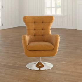 Cantillo 69Cm Wide Tufted Genuine Leather Top Grain Leather Swivel Wingback Chair