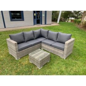 The Lian - Rustic Grey Six Seater Rattan Corner with Coffee Table
