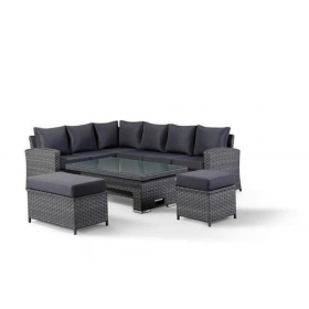 The Jaden - Nine seater Rattan Corner with adjustable coffee/dining table and two footstools (one a double)