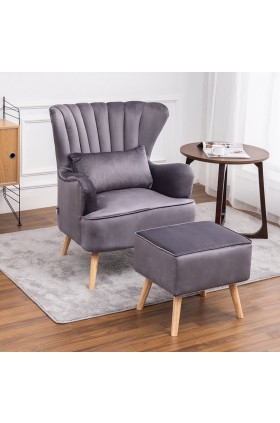 Caius Wingback Chair and Footstool