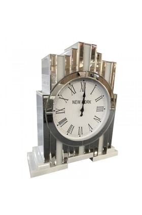 New York Inspired Mirrored Glass Tabletop Clock