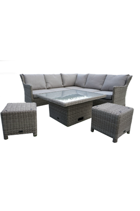 The Seychelles Garden Corner Set with adjustable Dining/ Coffee Table and two footstools