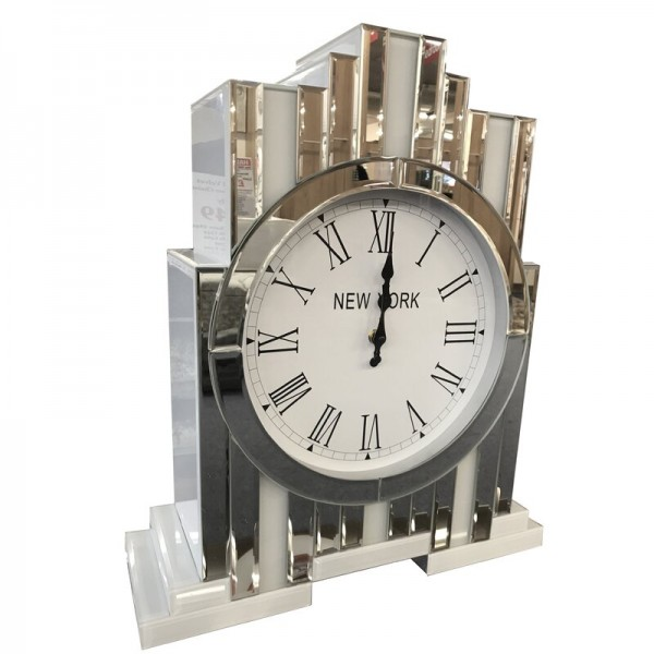 New York Inspired Mirrored Glass Tabletop Clock